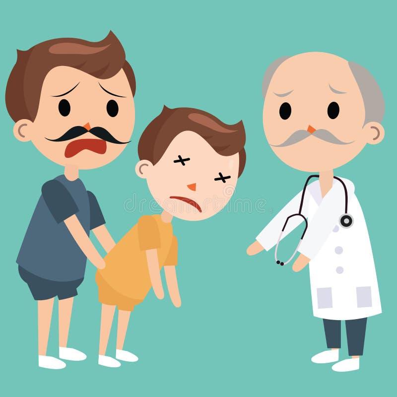 De papa brengt zieke jonge geitjes aan artsennoodsituatie medische bezoeken vector illustratie