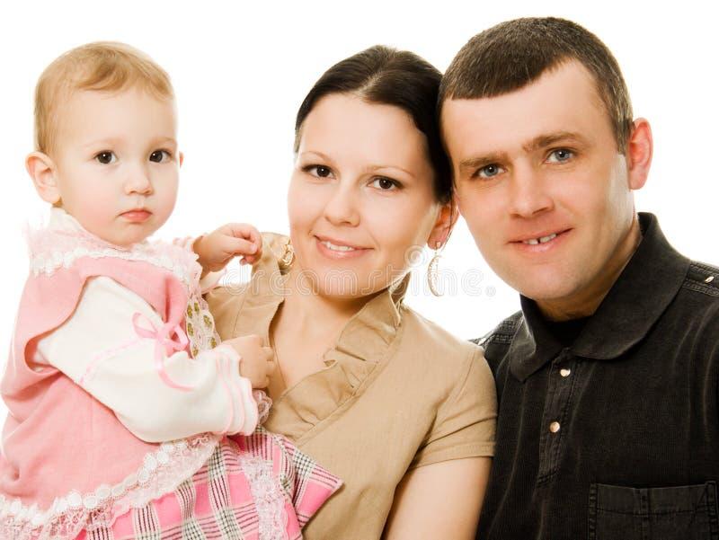 De papa en de dochter het glimlachen van het mamma royalty-vrije stock afbeelding