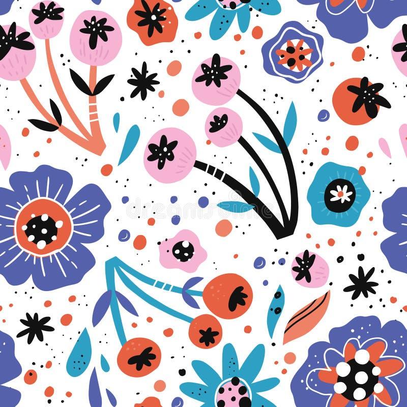 De papaver bloeit hand getrokken vector naadloos patroon vector illustratie