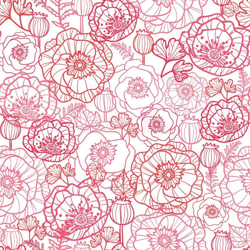 De papaver bloeit naadloze het patroonachtergrond van de lijnkunst royalty-vrije illustratie