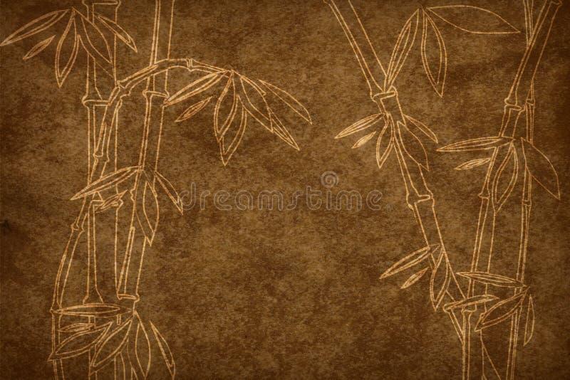 De papel envelhecido com teste padrão de bambu fotografia de stock