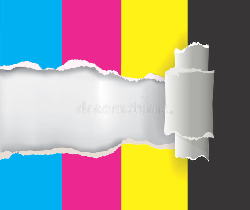 De papel rasgada con colores de la impresión stock de ilustración