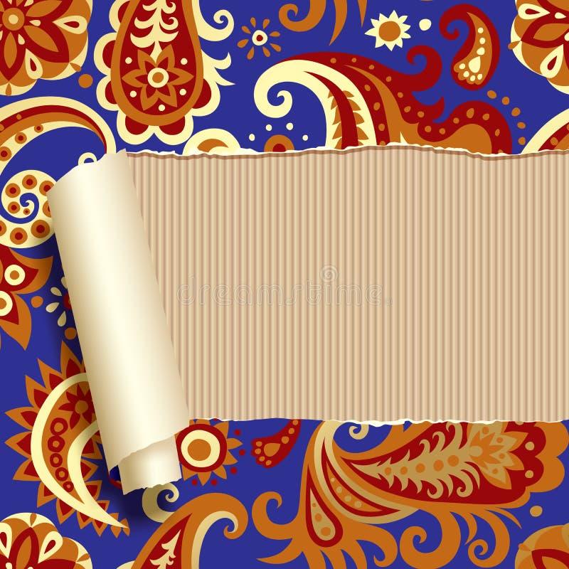 De papel rasgada con el ornamento floral ilustración del vector