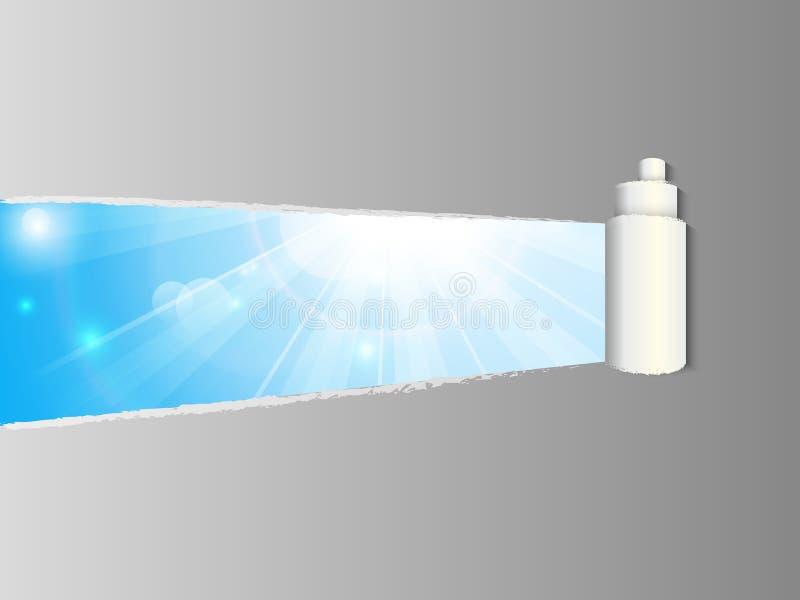 De papel rasgada con los rayos soleados ilustración del vector