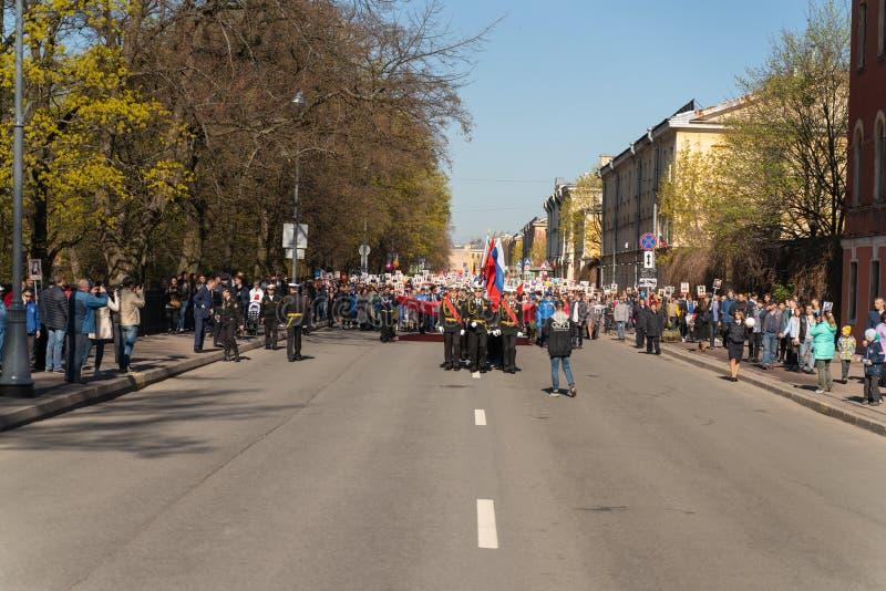 De parade aan de overwinningsdag kan 9, 2019 in Kronstadt Rusland, St. Petersburg 09 05 2019 stock afbeeldingen