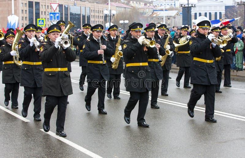 De parade gewijd aan Victory Day in Wereldoorlog II royalty-vrije stock afbeelding