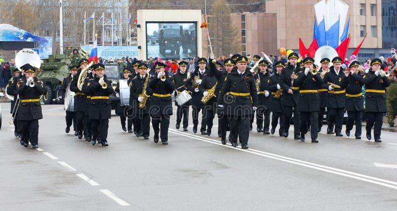 De parade gewijd aan Victory Day in Wereldoorlog II royalty-vrije stock foto's