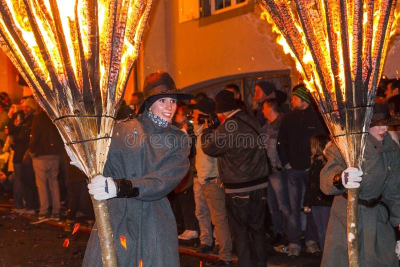 De parade van Chienbasefastnach en deelnemers in Liestal, Zwitserland royalty-vrije stock afbeeldingen