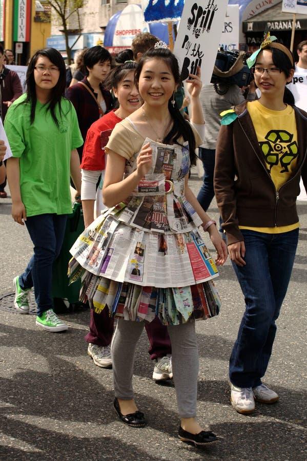 De Parade van de Dag van de Aarde van Vancouver, Manier Eco stock foto's