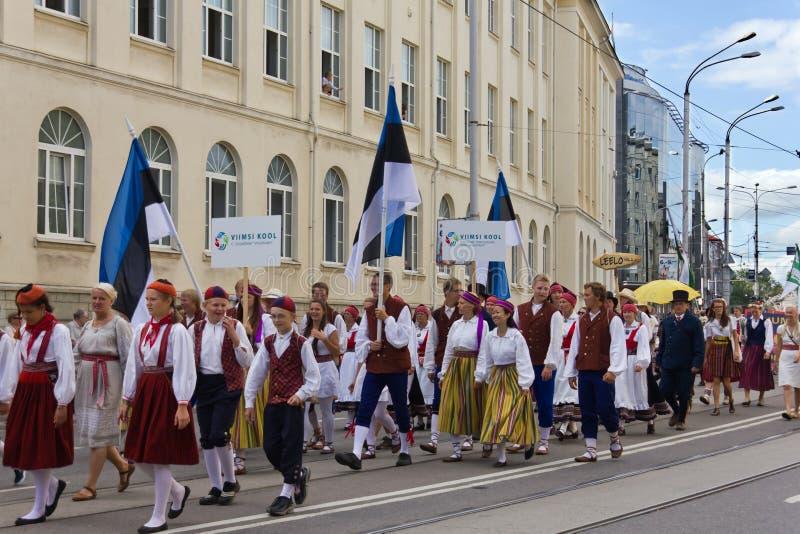 De parade van de Viering 2011 van het Lied en van de Dans royalty-vrije stock fotografie