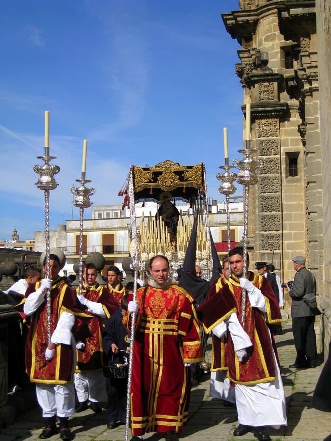 DE PARADE VAN DE VIERING VAN PASEN IN JEREZ, SPANJE royalty-vrije stock afbeelding
