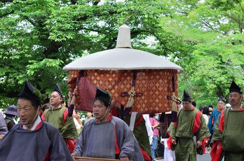 De parade van het festival van Kyoto Aoi, Japan stock foto