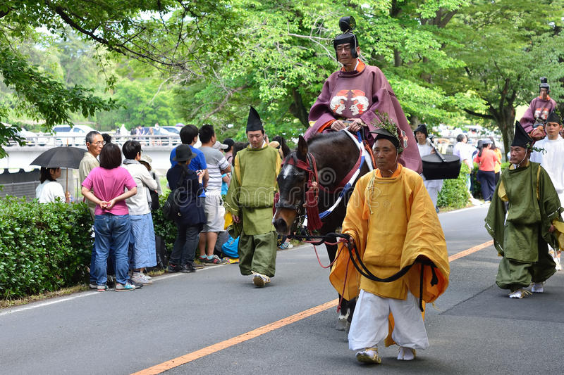 De parade van het festival van Kyoto Aoi, Japan stock fotografie
