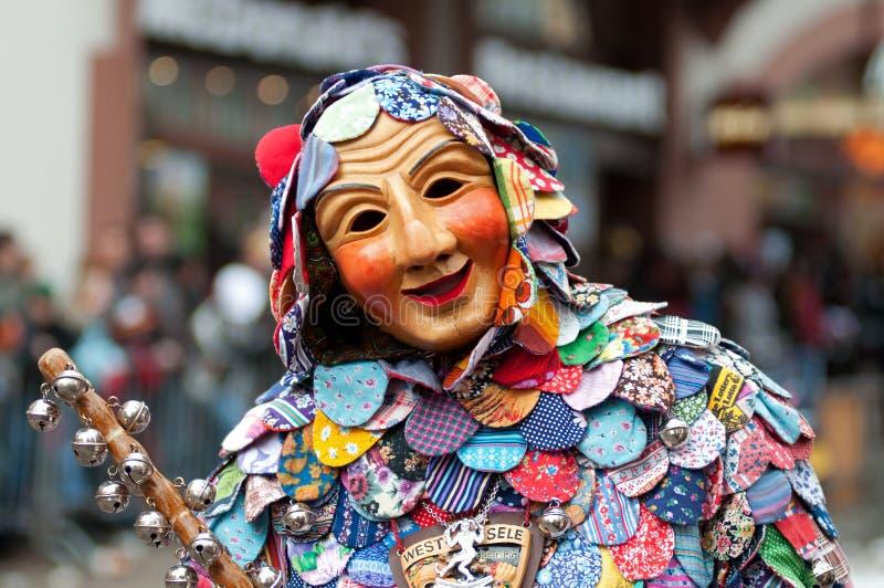 De parade van het masker in Freiburg, Duitsland stock foto's