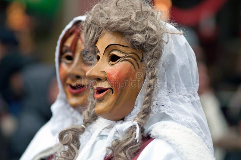 De parade van het masker in Freiburg, Duitsland stock foto