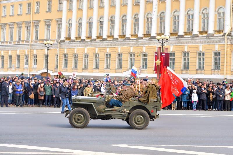 De parade van de overwinning in St Petersburg stock foto
