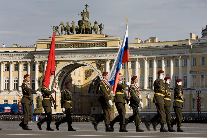De paraderepetitie van de Dag van de overwinning stock fotografie