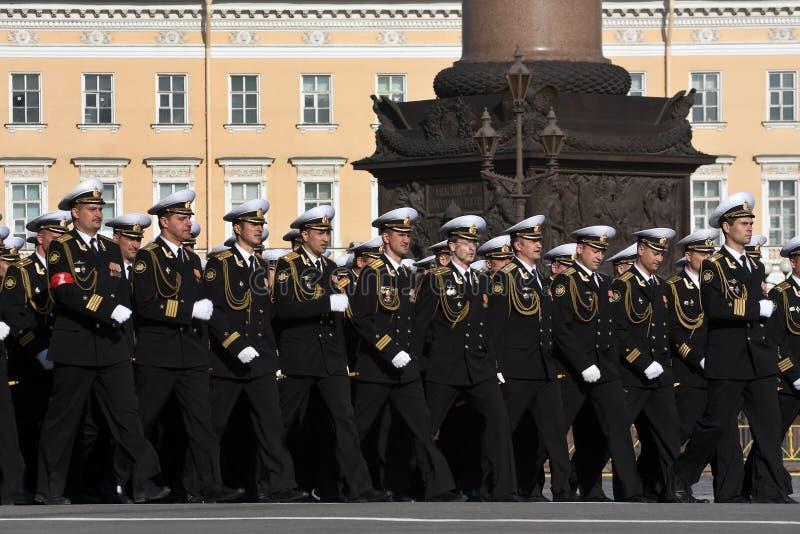 De paraderepetitie van de Dag van de overwinning stock foto
