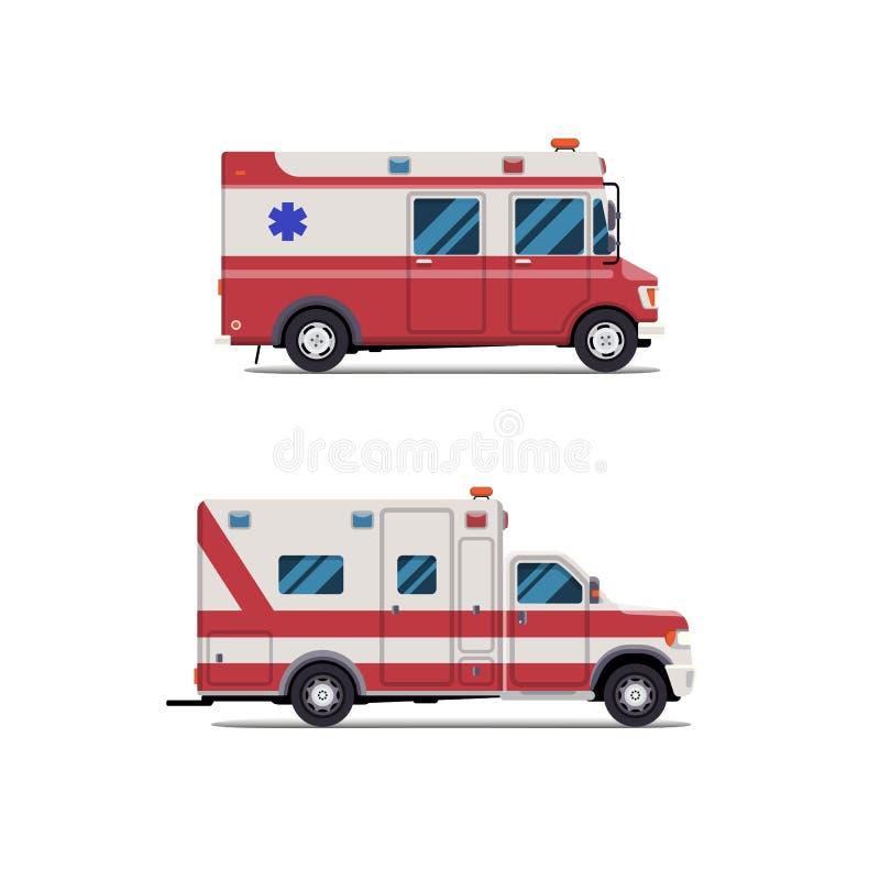 De paramedicusauto van de ziekenwagennoodsituatie Vector modern creatief vlak ontwerp Eerste hulpvervoer Isoleer op witte achterg royalty-vrije illustratie