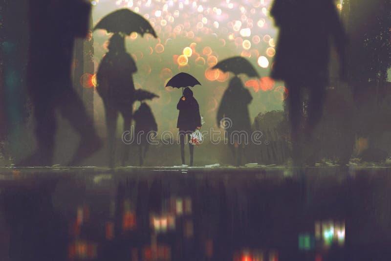 De paraplu die van de mensenholding zich alleen in menigten van mensen bevinden vector illustratie