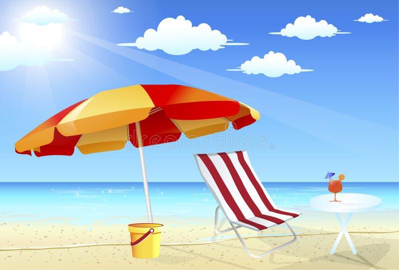 De paraplu en de stoelen van het strand stock illustratie
