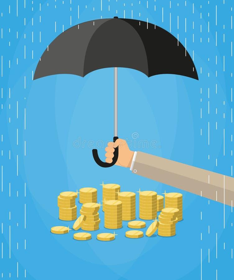 De paraplu van de handholding om geld te beschermen royalty-vrije illustratie