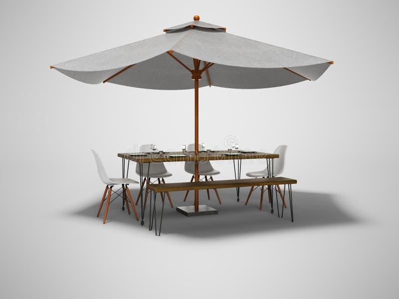 De paraplu van het de zomerrestaurant met houten lijst en 3d de stoelen geven op grijze achtergrond met schaduw terug royalty-vrije illustratie