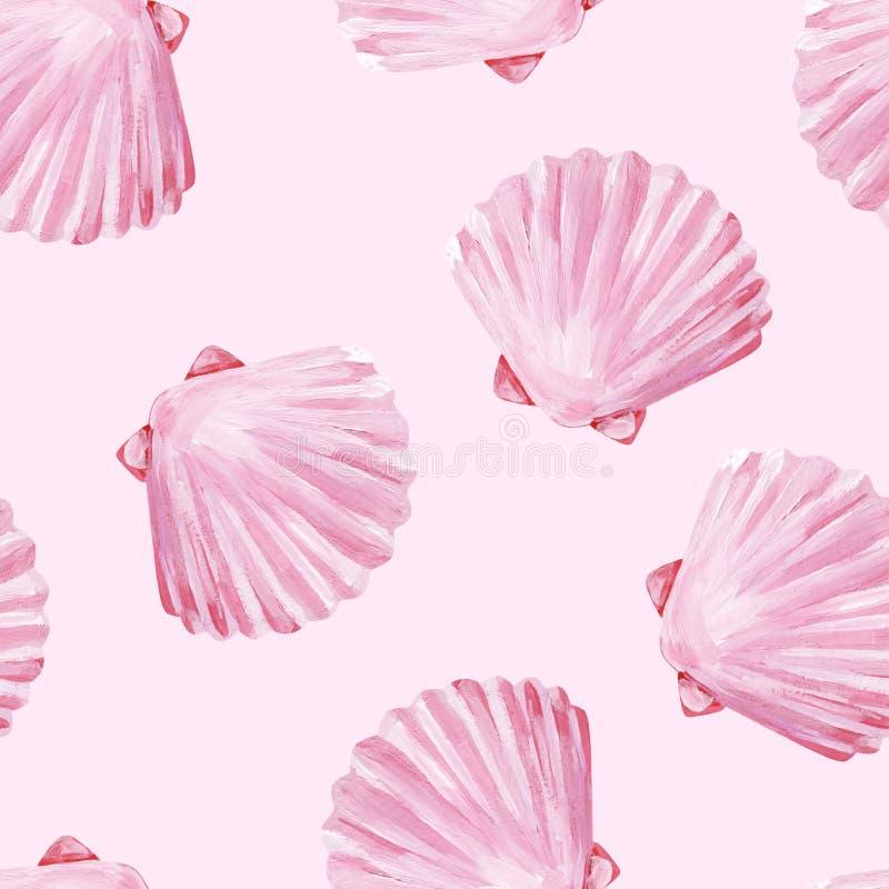 De parel roze zeeschelpen van het gouache naadloze eenvormige strand op roze achtergrond stock illustratie