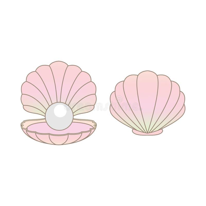 De parel van de luxeregenboog in een geïsoleerde clamshellillustratie royalty-vrije stock afbeeldingen