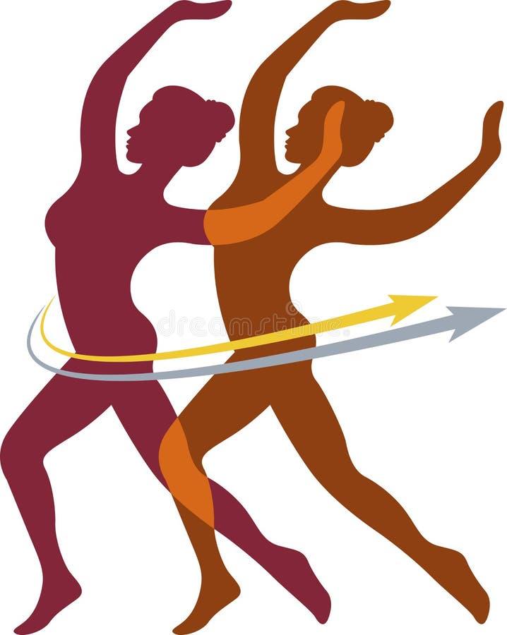 De paren dansen embleem vector illustratie