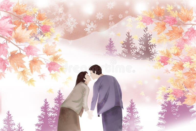 De paren delen hun eerste kus in het hout - Grafische het schilderen textuur royalty-vrije illustratie