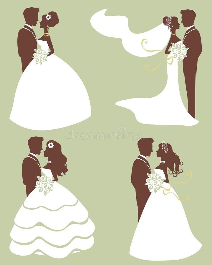 De paren van het huwelijk in silhouet royalty-vrije illustratie