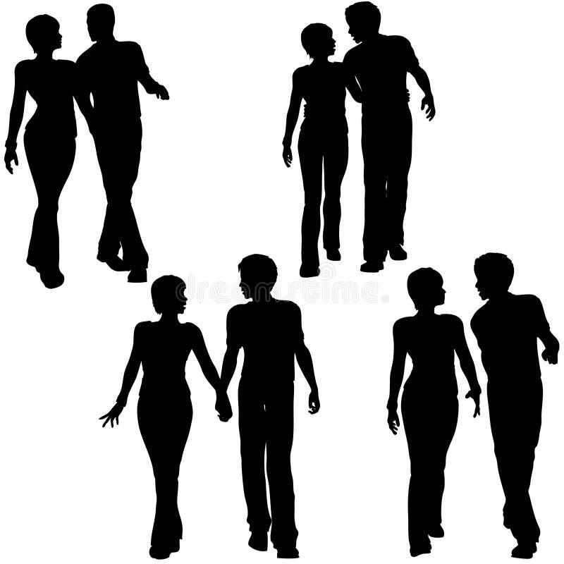 De Paren van mensen lopen Liefde vector illustratie