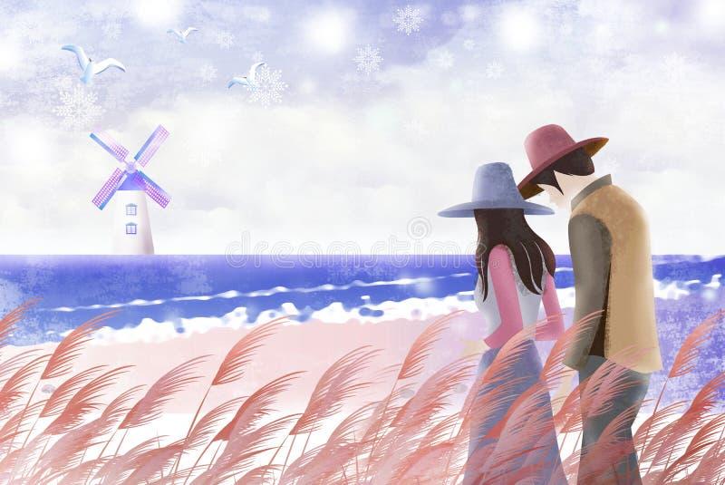 De paren wandelen het strand in het de winterlandschap - Grafische het schilderen textuur stock illustratie