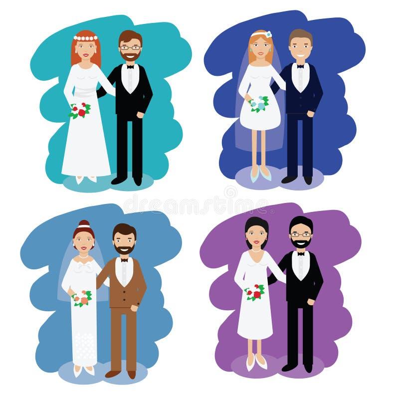 De pareninzameling van het huwelijk Glimlachende bruid en bruidegom gelukkige paren vectorillustratie stock illustratie