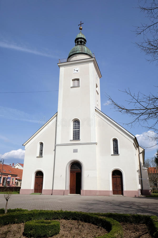 De parochiekerk van de Heilige Drievuldigheid in Donja Stubica, Kroatië stock foto