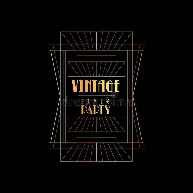 Or de partie de style de vintage et illustration noire de vecteur, rétro calibre pour l'invitation, carte de voeux, plaquette, af illustration de vecteur