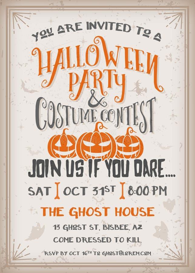 De partij en het kostuumwedstrijduitnodiging van Halloween vector illustratie