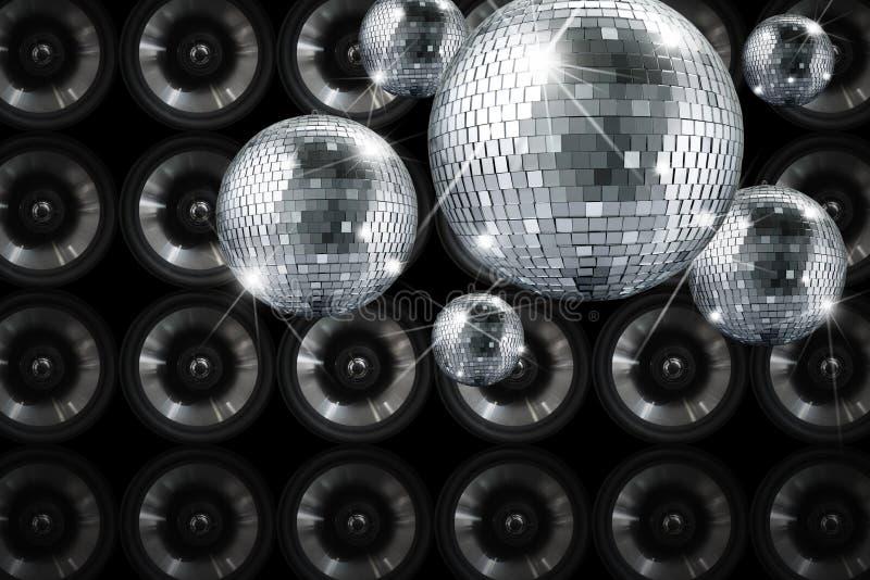 De partij steekt de bal van de discospiegel met achtergrond aan royalty-vrije stock afbeeldingen