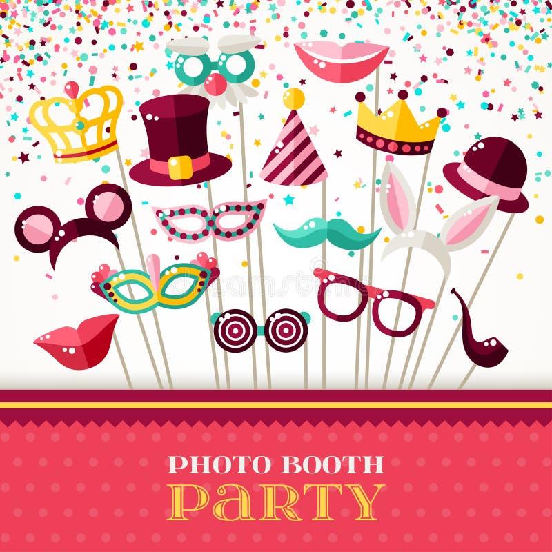 De Partij van de fotocabine met de Maskers en de Confettien van Carnaval royalty-vrije illustratie