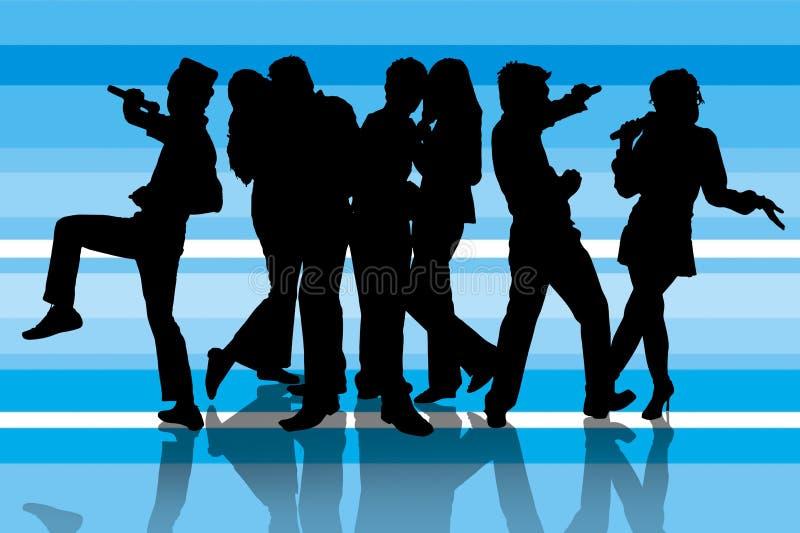 De partij van de karaoke op blauw vector illustratie