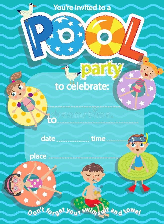 De partij van de pool De kaart van het uitnodigingsmalplaatje Jonge geitjespret in pool stock illustratie