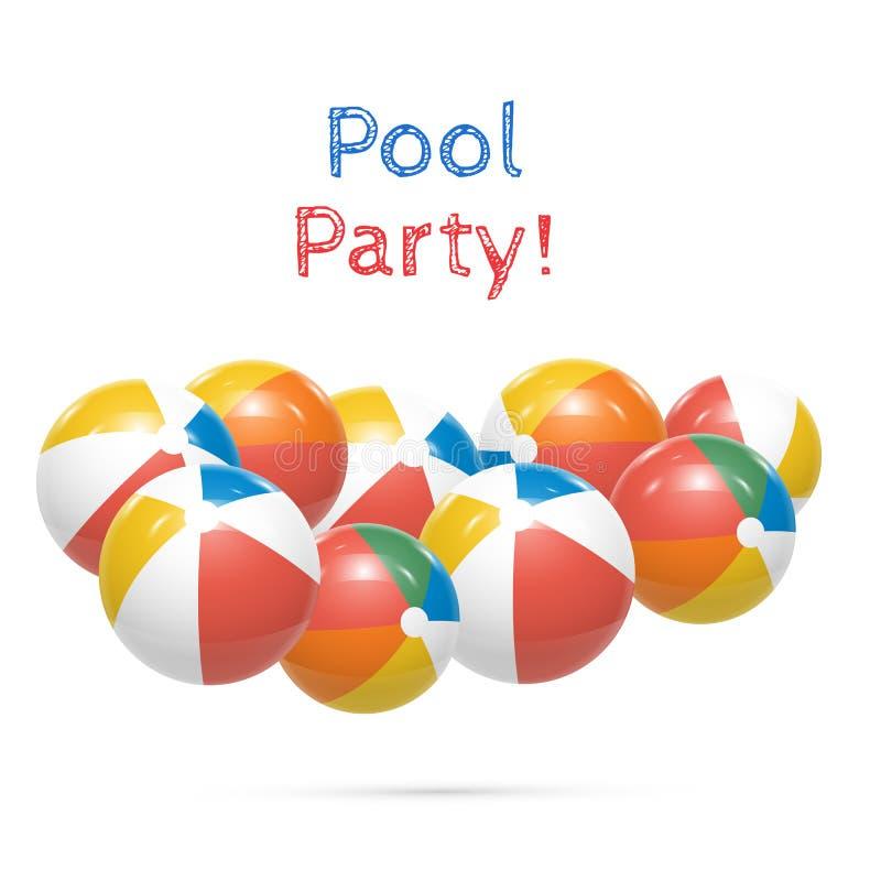 De partij van de pool Strandballen op witte Vector worden geïsoleerd die als achtergrond vector illustratie