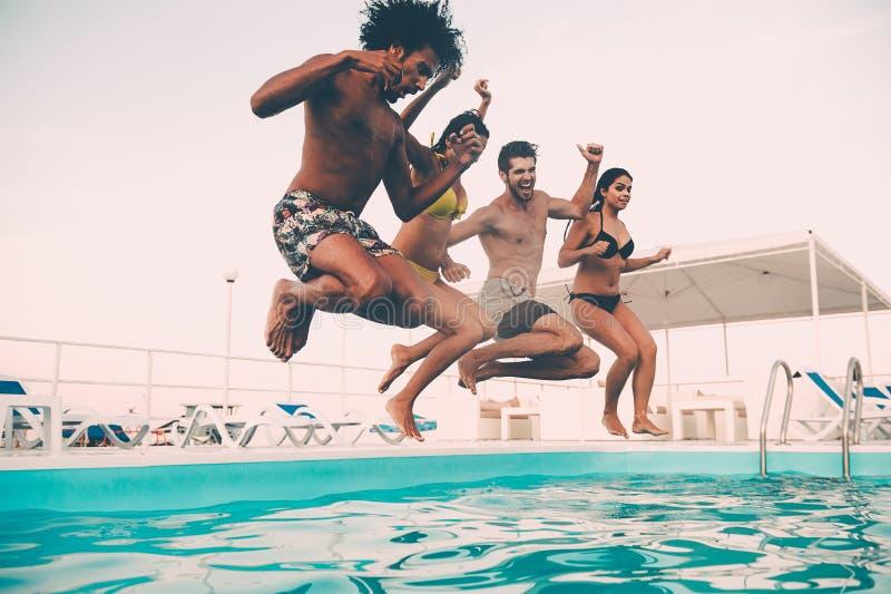 De Partij van de Pool van de zomer stock fotografie