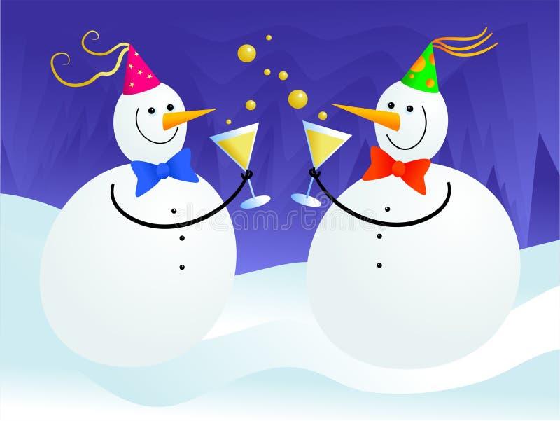 De partij van de sneeuwman vector illustratie