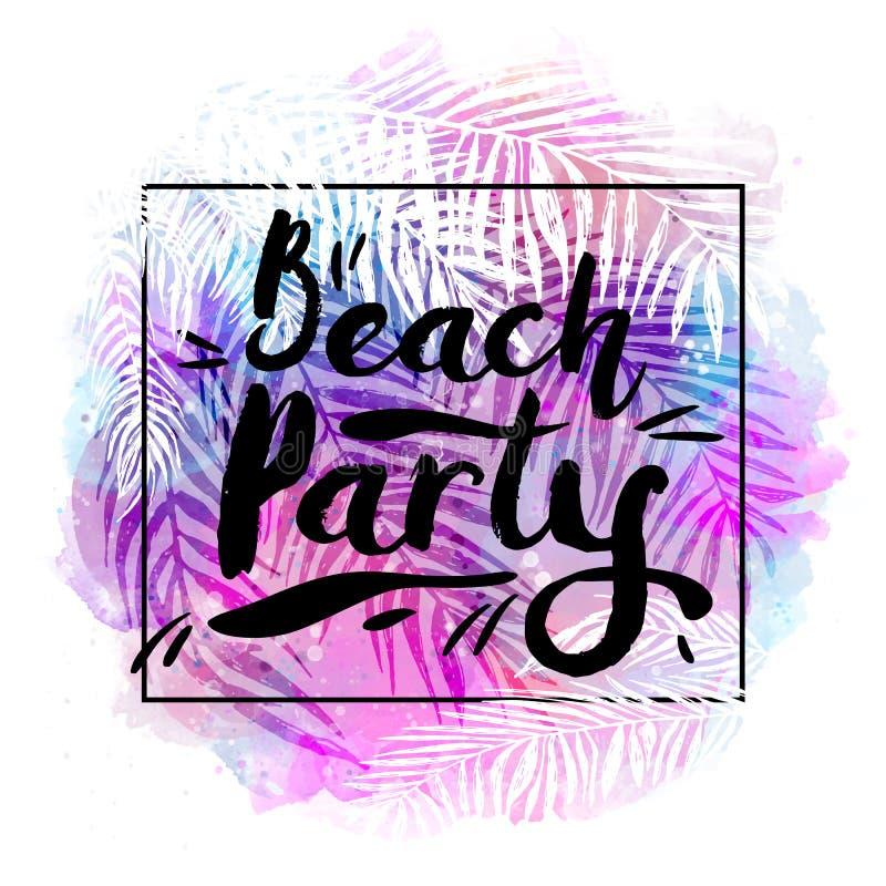 De partij van het affichestrand op een in tropische waterverfachtergrond, exotische palmen Kaart, etiket, vlieger, bannerontwerp