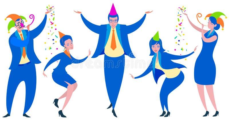De partij van het bedrijfsmannen en vrouwenpretbureau Vlakke beeldverhaalmensen het dansen dwazendag vector illustratie