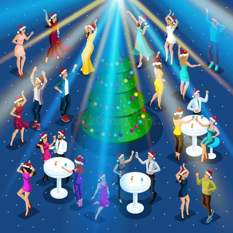 De partij van het Isometrynieuwjaar, 3D meisjes danst, disco, collectieve partij, nachtclub, Kerstboom, geboorte en dans stock illustratie