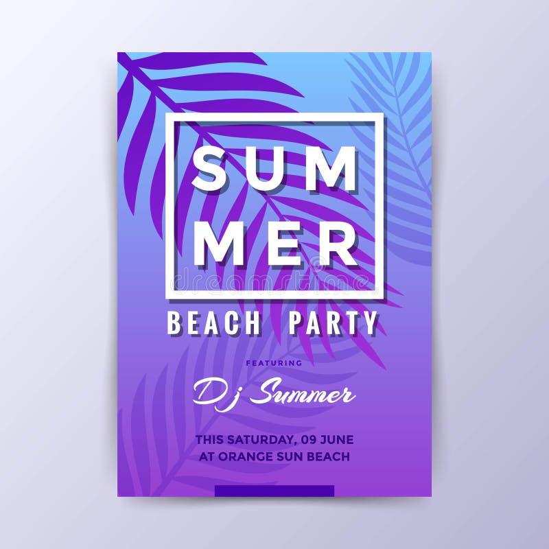 De Partij van het de zomerstrand met de Afficheontwerp van DJ vector illustratie