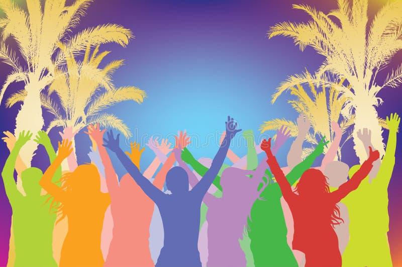 De partij van het de zomerstrand, vrolijk dansend menigtesilhouet op achtergrond van silhouetten van palmen Vector illustratie royalty-vrije illustratie